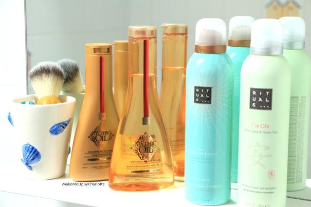 mythic-oil-loreal-cheveux-epais-revue-blogueuse-gamme-doré-shampooing-soin-demelant-rituals-sdb-the-body-shop