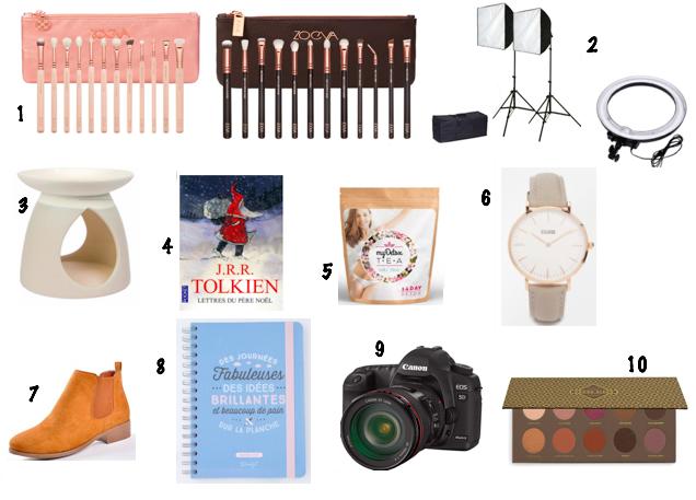 wishlist-noel-2016-pinceaux-zoeva-palettes-cosmeticary-bruxelles-bruleur-tartelettes-yankee-candle-tolkien-mr-wonderful-agenda-chaussures-bottines-femmes-appareil-photo-canon-cluse-montre-mydetoxtea-cellublue-eclairages-vidéos-softbox-neewer-anneau-lumineux-blogueuse-idées-cadeaux